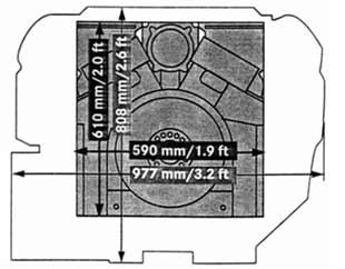 Сравнение боковых проекций дизельного двигателя V-12 HPD и  двигателя   МТ-883 такой же мощности