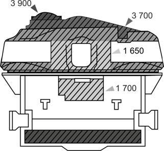 Схема ослабленных зон при обстреле 125-мм БПС БМ-26 основного бронирования лобовой проекции Т-72Б